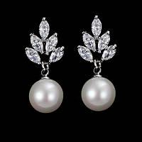 Сережки c перлами ювелірна біжутерія сріблення 4225-бж, фото 1