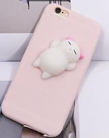 Розовый чехол с белым мягким котом для айфон 6/6s анти стресс