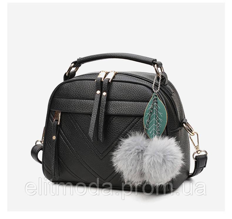 86a2fdc6 Красивая черного цвета женская сумка с меховым помпоном форма чемоданчик -  Интернет магазин