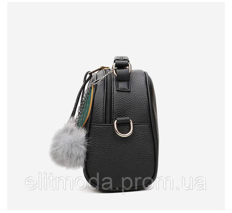 b361eca3 Красивая черного цвета женская сумка с меховым помпоном форма чемоданчик ,  цена 750 грн., купить в Кривом Роге — Prom.ua (ID#636673144)