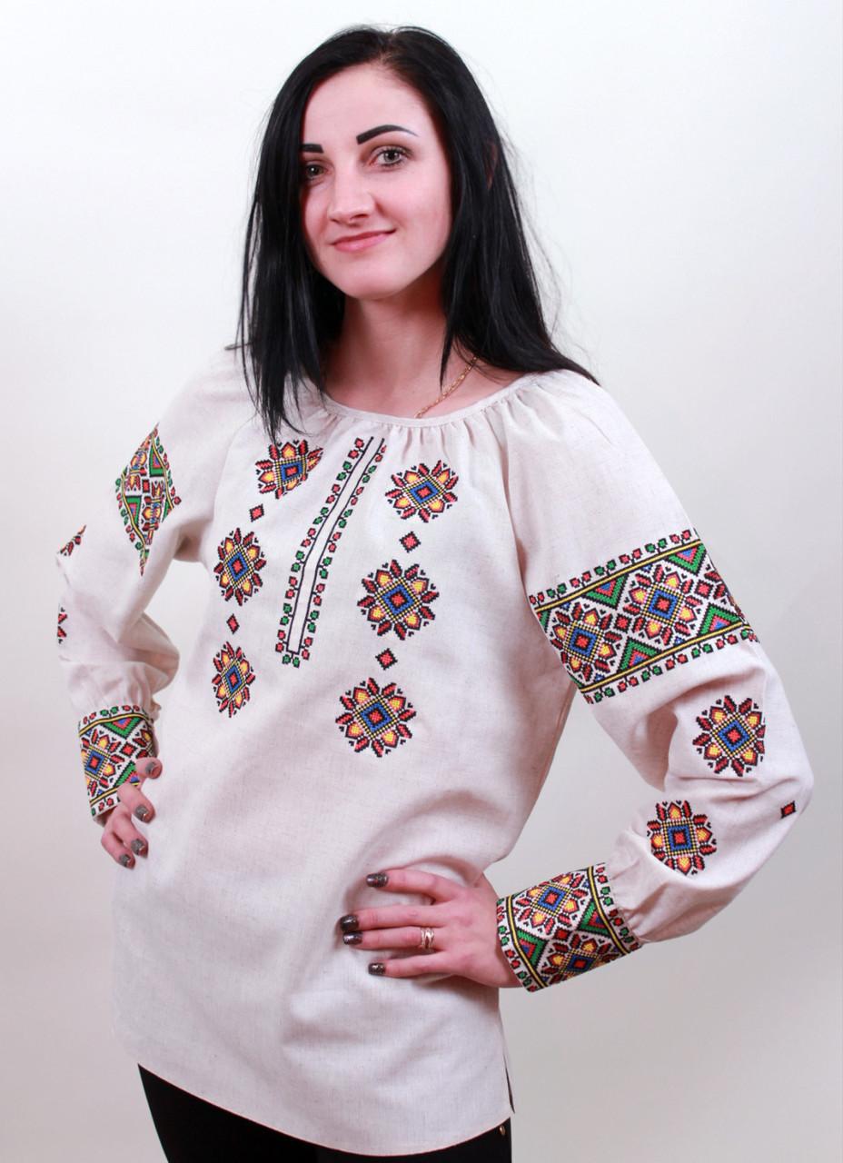 Жіноча вишиванка із білого льону Роксолана 52 розмір