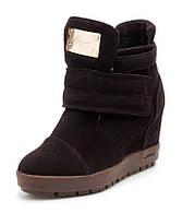 Женские коричневые зимние ботинки сникерсы из натуральной замши с застёжкой липучка