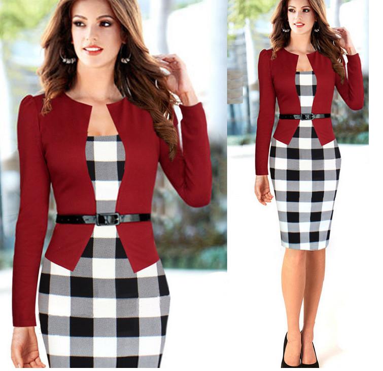 Платье пиджак-обманка с принтом клетка повседневное офисное пиджак красный размер М
