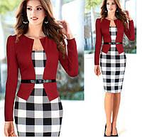 Платье пиджак-обманка с принтом клетка повседневное офисное пиджак красный размер М, фото 1