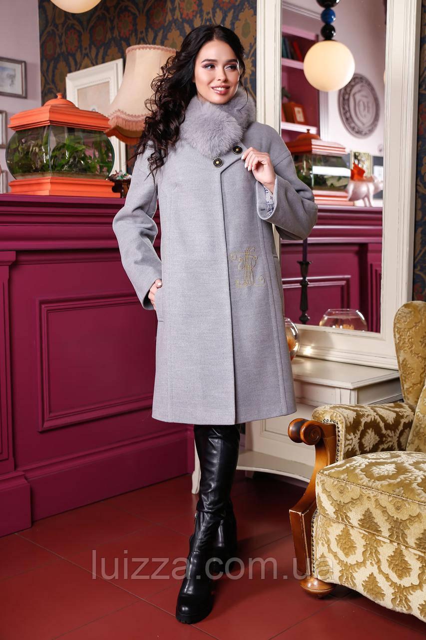 Зимнее женское пальто из кашемира с вышивкой 44-56р 44