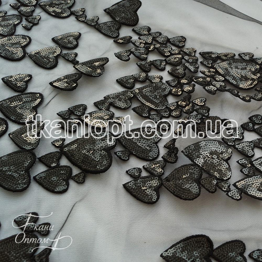 Ткань Сетка расшитая пайетками сердца (черный)