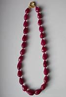 Ожерелье натуральные рубины огранка Капля 15-25х10-15 мм длина 55см Индия