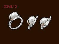 Срібний комплект з перлами Ліна, фото 1