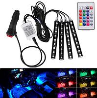 Cветодиодная RGB лента для подсветки салона  автомобиля с пультом ДУ 4 шт по 9 LED, фото 1