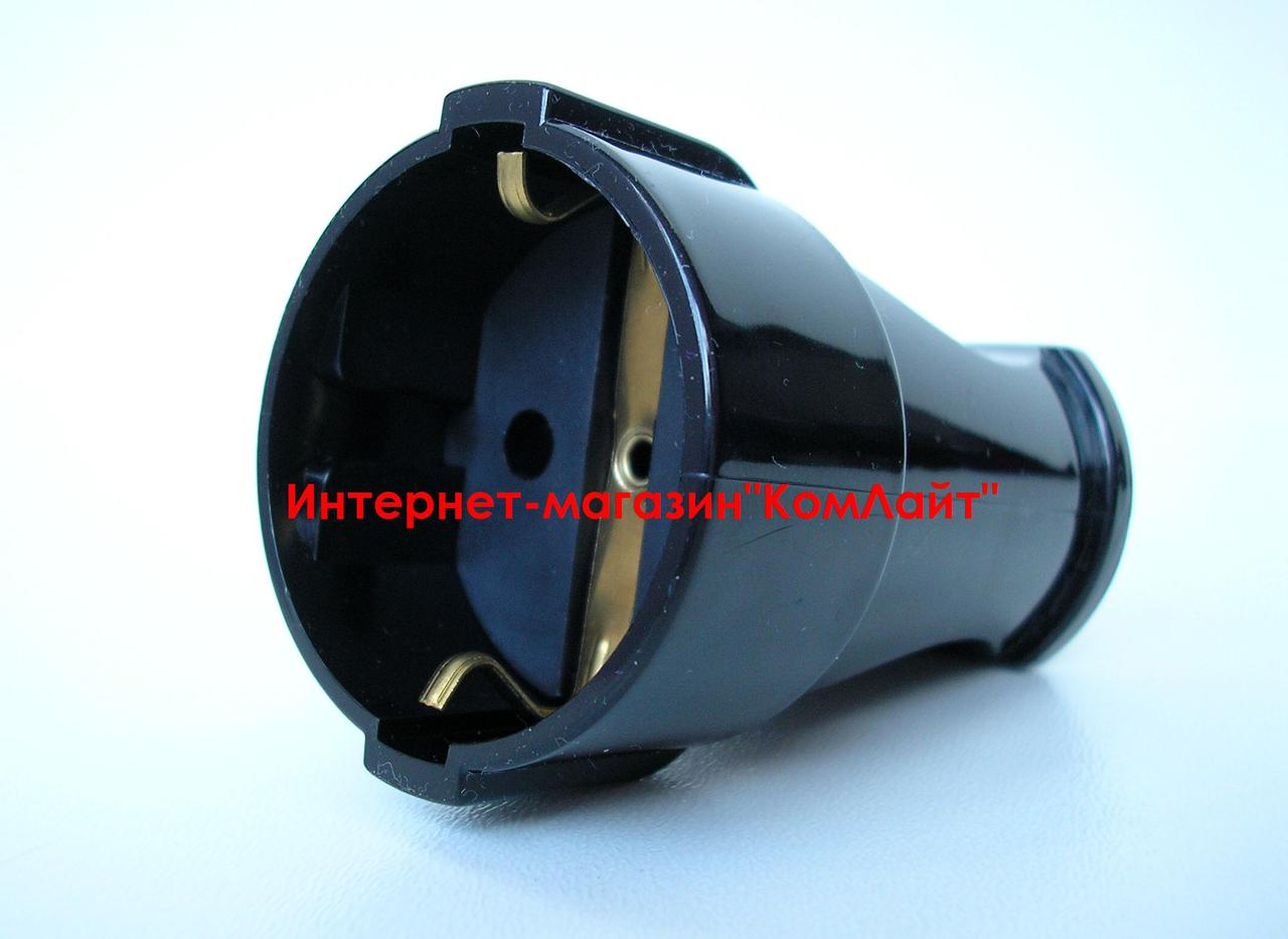 Розетка штепсельная MAKEL с заземлением 16А черная