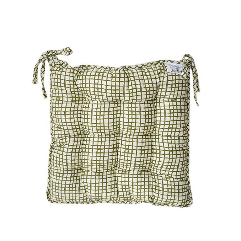 Подушка на стул оливковая клетка