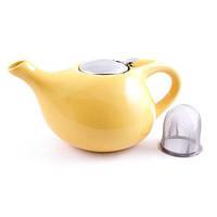 Чайник заварочный с ситечком Fissman 1.3 л (Керамика с металлической крышкой), фото 1