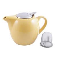 Чайник заварочный с ситечком Fissman 750 мл (Керамика с металлической крышкой), фото 1