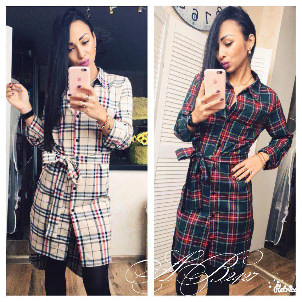 0a429da905e Женская удлиненная рубашка-платье в клетку - Интернет-магазин