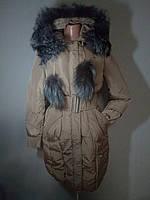 Пуховик,пальто женский с натуральным мехом Peercat