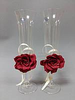 Свадебные бокалы ручной работы с цветком марсал, фото 1
