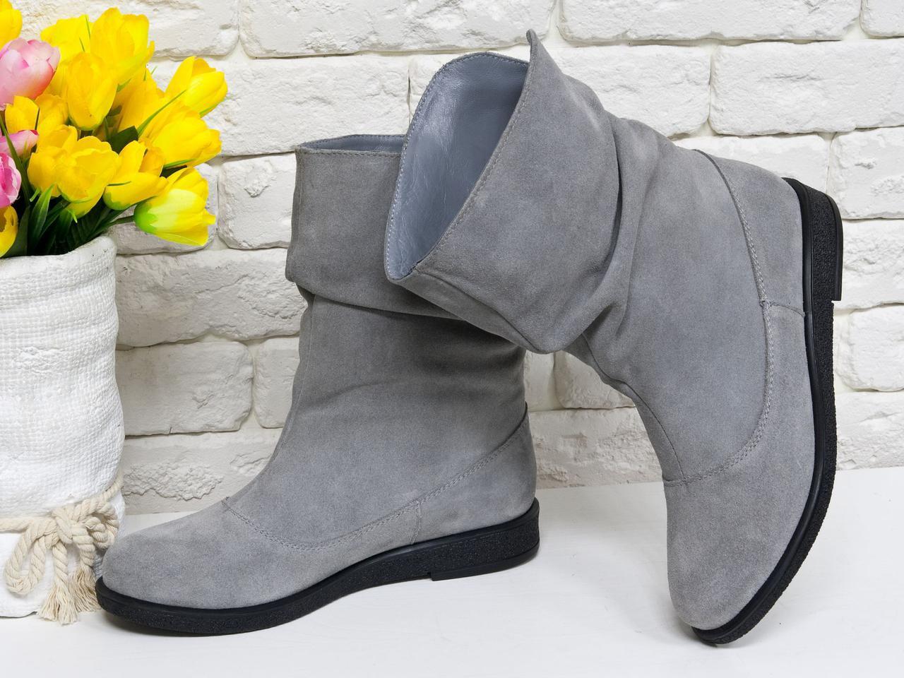 Ботинки женские стильные из натуральной замши без молнии.