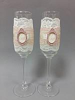 Свадебные бокалы ручной работы с монограммой пудровые