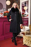 Пальто зимнее с мехом песца 48-58рр черный