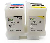 Перезаправляемые картриджи (ПЗК/ДЗК) для Canon iPF605/iPF750 с чипами (6 шт. по 130 мл)