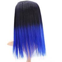 Современной изюминкой женщин длинный прямой волос парик-черный и синий 71657