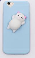 Голубой чехол с белым мягким котом для айфон 6/6s анти стресс