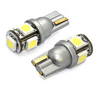 T10 (W5W), белого цвета свечения (5500К) 5-5050SMD (Silver socket)