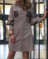 Платье-Рубашка Котон Мини Philipp Plein Бежевый (S. M)