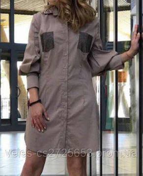 Платье-Рубашка Котон Мини Philipp Plein Бежевый (S. M), фото 2