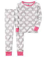 Детская пижама в сердечки Carters Картерс для девочки, 122,130 см (6 лет, 7 лет)