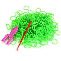 Эластичные силиконовые резинки с 9 зажимами для DIY браслета / кольца 300 шт Зелёный
