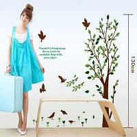 Многоразовые творческая DIY декоративные зеленое дерево и птица шаблон стикер стены Съемный росписи декор для дома орнамент Цветной