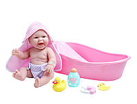 Пупс Новорожденный реалистичный малыш с розовой ванной  La Newborn 8 Piece Realistic Baby Doll Bathtub Set Pink