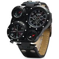 SHIWEIBAO J3104 двойной часовых поясов Кварцевые часы с Кожаный ремешок Компас для мужчин Чёрный