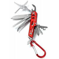 Универсальный складной нож-мультитул 12 в 1 на брелке ножницы+отвертка+открывалка Красный