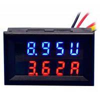 Поделки практичный двойной 0.28 дюймов 3 цифры красный синий светодиодный дисплей Напряжение амперметр (постоянного тока 0-100В / 50А) Чёрный