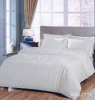 Постельное белье сатин-жаккард Евро Violette молочный Tac