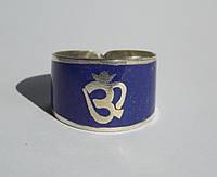"""Кольцо """"Ом"""" с эмалью из лазурита. Кольцо с лазуритом"""