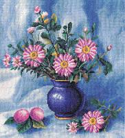 Набор для вышивки крестом Panna Ц-0978 Букет хризантем в вазе