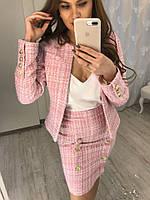 Женский красивый твидовый костюм: пиджак и юбка (4 цвета)
