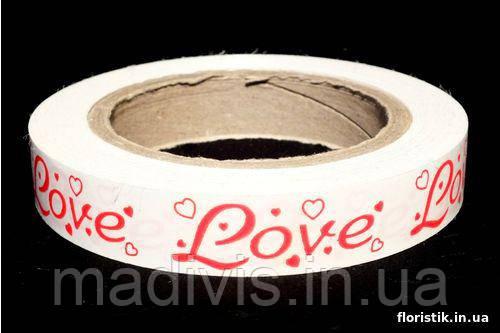 "Декоративная лента Dolce ""Love"" №2; 2 см. красное на белом."