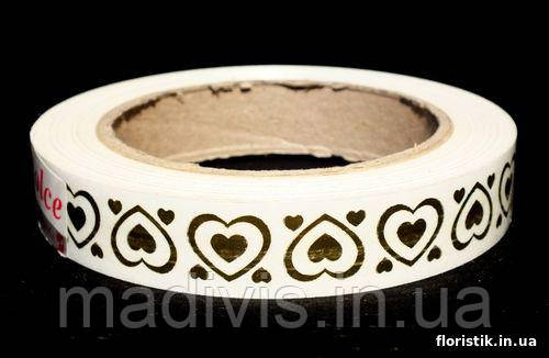 "Декоративная лента Dolce ""Сердца"" №5; 2 см. золото на белом."