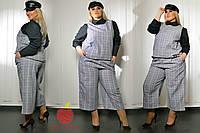 Женский стильный удлиненный жилет с отделкой экокожа Батал
