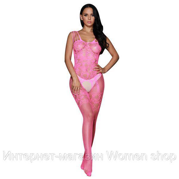 Розовый боди-комбинезон в сеточку