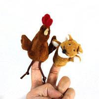 2шт стильный плюшевые игрушки палец куклы рассказать историю поставок Лиса+курицы плюшевые куклы Как на изображении