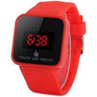 Наручные часы со светодиодным сенсорным экраном и красными цифрами прямоугольный циферблат резиновый ремешок Глубокий красный