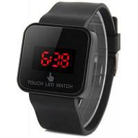Наручные часы со светодиодным сенсорным экраном и красными цифрами прямоугольный циферблат резиновый ремешок Чёрный