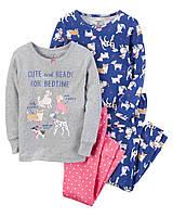 Комплект пижам из 4-х вещей в собачки Carters для девочки
