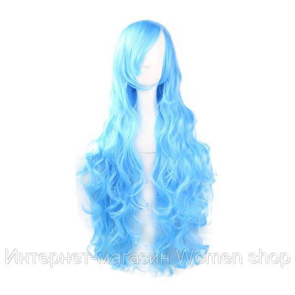 Голубой длинный парик