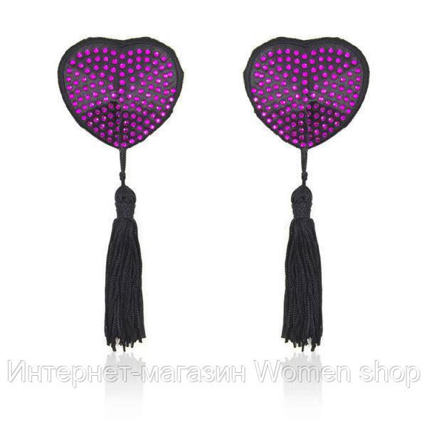 Стикини на соски с фиолетовыми стразами